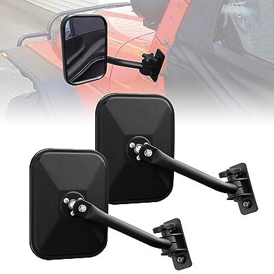 ICARS Textured Black Shake-Proof Rectangular Adventure Mirrors, Door Hinge Mirror, Off-Road Door Off Mirrors, Jeep Side Mirrors for All Jeep Wrangler 97-18 TJ JK JKU JL - Pair: Automotive