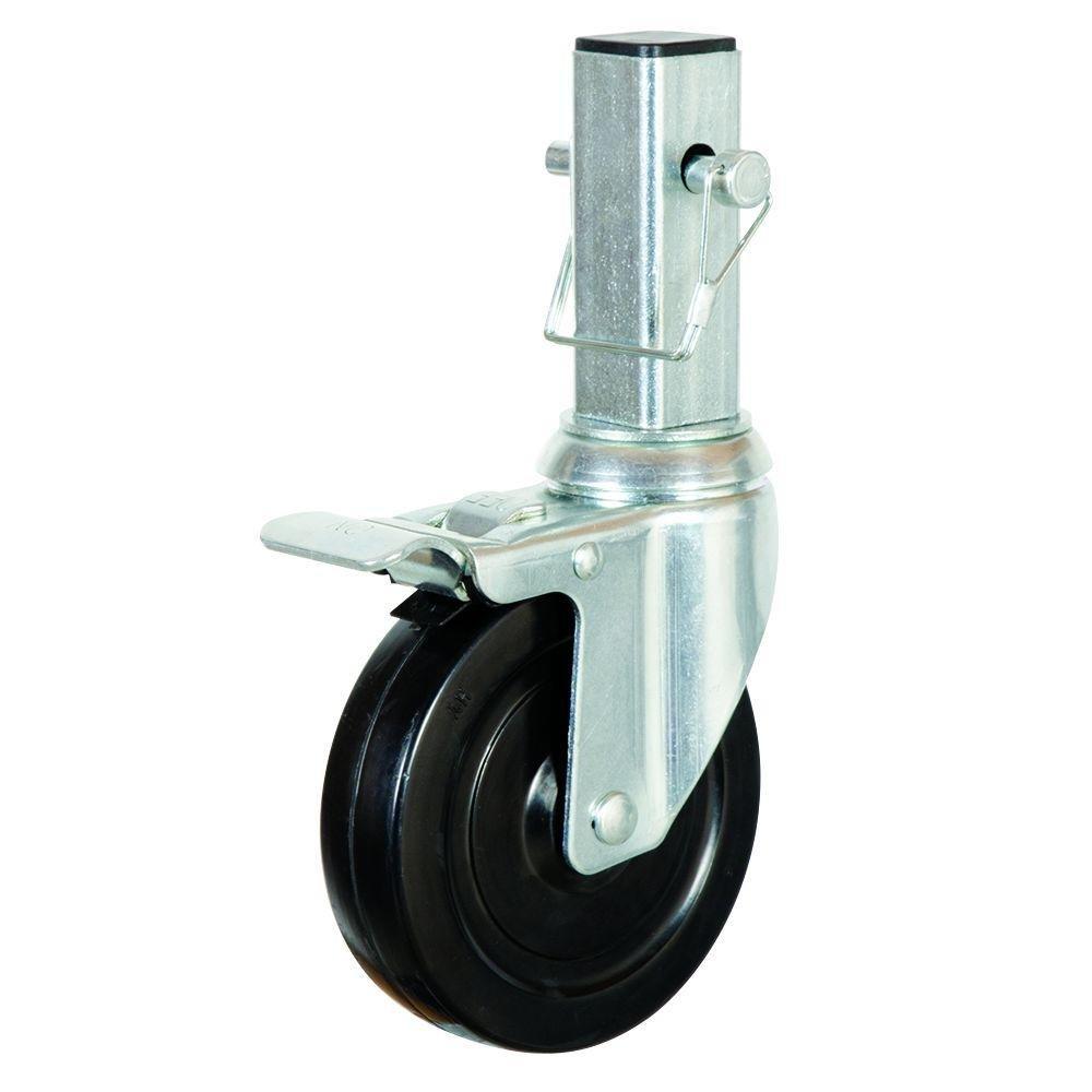 2PCS Heavy-Duty 5'' Scaffold wheel Hard Rubber Locking Caster
