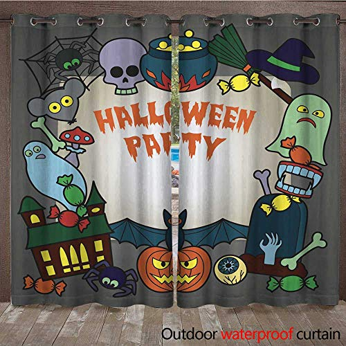 RenteriaDecor Outdoor Curtain for Patio Halloween Party Mock up W108 x L84 -