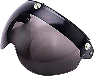 Pilot Style Universal 3-Snap Visor for Open Face Motorcycle Helmet Wind Shield Flip Up Down (Smoke)