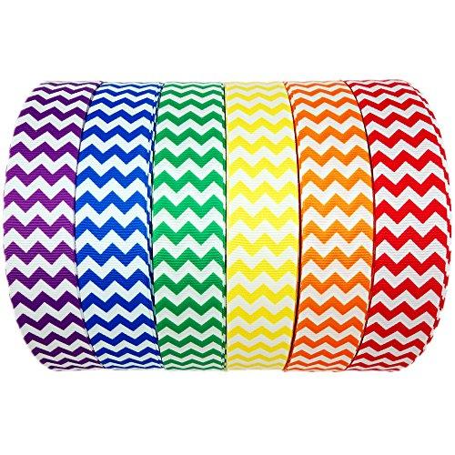 Dakota Girl 30 Yards (6 X 5yds) 1 Inch 6 Colors Rainbow Chevron Printed White Grosgrain Ribbon Hairbow Craft ()