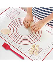 Silicone Baking Mat for Pastry Rolling Dough with Measurements BPA Free Non Stick and Non Slip Blue Table Sheet Baking Supplies for Bake Pizza Cake