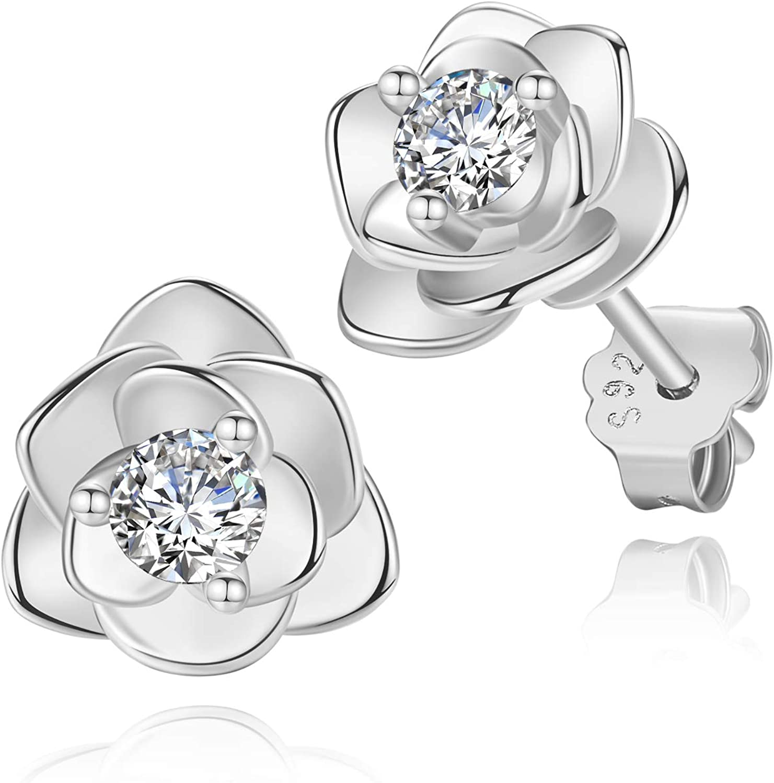 White Gold & Yellow Gold Plated Rose Flower Ear Studs | Rose Gold Hypoallergenic Earrings for Women
