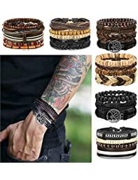 24 Pcs Woven Leather Bracelet for Men Women Cool Leather...