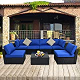 JETIME Patio Sectional Sofa Outdoor Black Rattan Couch Set Free Rain Cover Wicker 7PCS Sectional Conversation Sofa Set Lawn Garden Patio Furniture Set with Royal Blue Cushion