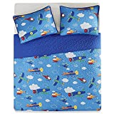 Comfort Spaces Quilts Queen Size Boys - Wright Queen Quilt 3 Piece - Blue - Lightweight Summer Ultra Soft Microfiber Printed Airplanes, Helicopters, Clouds Design Queen Bedspread
