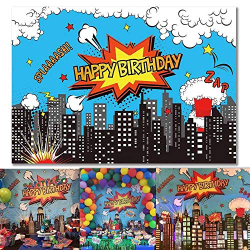 Allenjoy 7x5ft Superhero City Backdrop for Birthday Party Decoration Modern Cityscape Super Hero Photography Background for Boys Picture Cake Table Banner Photo Booth