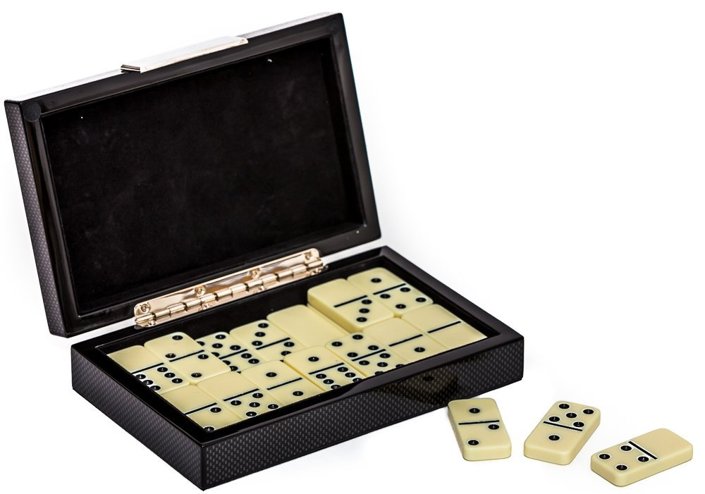 Astoria Carbon Fiber Deluxe Case with Double Six Dominoes Set by Bello Games New York, Inc.