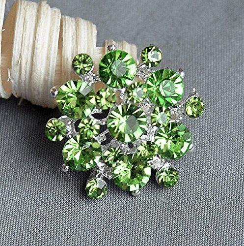 5 Large Rhinestone Button Embellishment Light Mint Green Crystal Wedding Brooch Bouquet Invitation Hair Comb Clip BT199