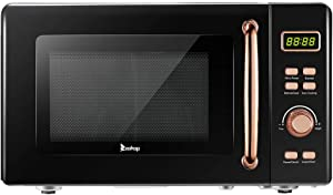 Small Microwave Oven Countertop 0.7 Cu.Ft/700W 360° Rotating Convection Microwave Toaster Oven Air Fryer 8 Cooking LED Display Child Safety Lock,Black