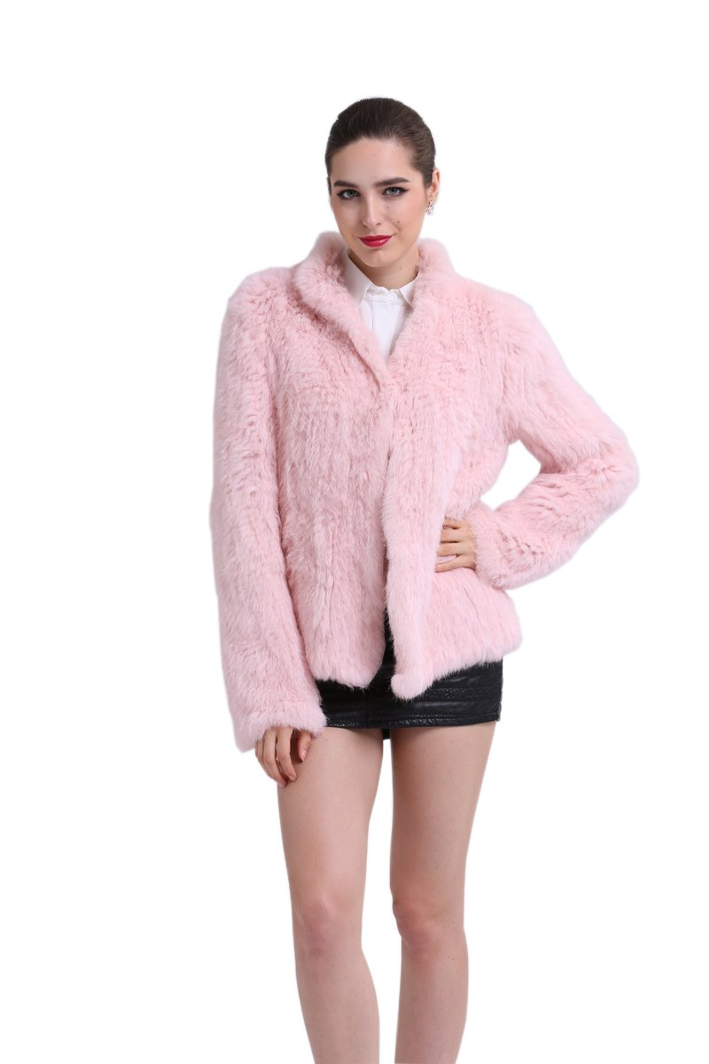 TOPFUR Womens Knitted Pink Overcoat Rabbit Fur Outerwear Winter Warm Overcoat(US 8)