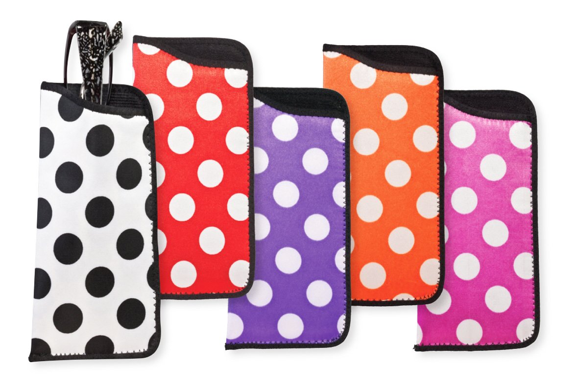 5 Pack Soft Slip In Eyeglass Case Holder For Women, Colorful Polka Dot Design