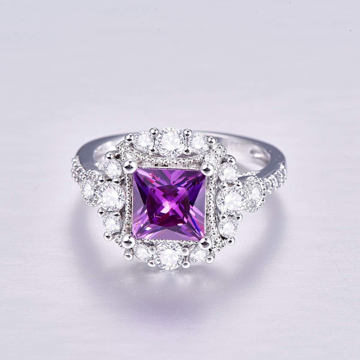 PAKULA 925 Sterling Silver Women Princess Cut Simulated Amethyst Halo Engagement Ring