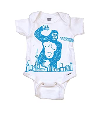Amazon Com Gorilla Attacks Drawing Cool Baby Onesie Bodysuit Tops