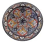 Moroccan Ceramic Plate Handmade Deep Serving Dinnerware 16 Inches Diameter Multicolored