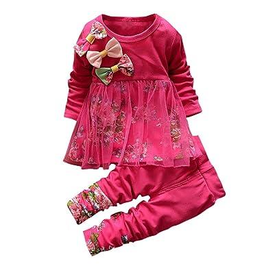 69ea2fb51345e Iuhan Baby Girl's Cotton Blend Flowers T-Shirt Top Dress Pants 2 Pieces  Outfits Set