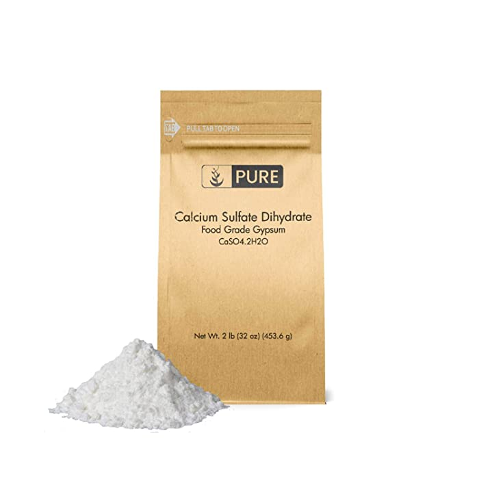 Calcium Sulfate (Gypsum) (2 lb.) by Pure Organic Ingredients, Eco-Friendly Packaging, for Multiple Uses Including Baking, Water Treatment, and Gardening
