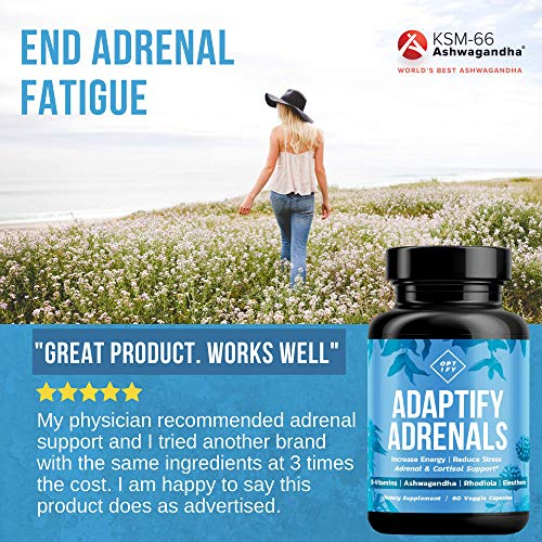 Adrenal Support & Cortisol Manager - Natural Adrenal Fatigue & Health  Supplement with Organic Ashwagandha, Complete B Vitamin Complex, Rhodiola  Rosea,