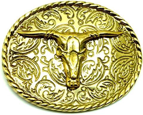 Longhorn Toro Vaca Buey Lat/ón Macizo Cr/áneo Hebilla de Cintur/ón Aut/éntico Baron Buckles Producto de Marca