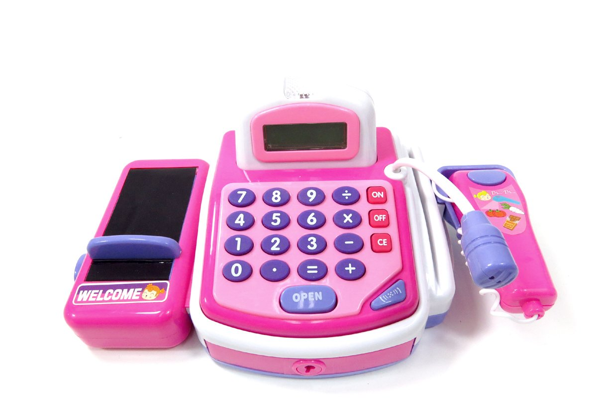 Chi Mercantile Fancy Pink Complete Realistic Cash Register with Microphone Conveyor Belt Scanner Assorted Groceries Play Money and Shopping Basket by Chi Mercantile (Image #1)