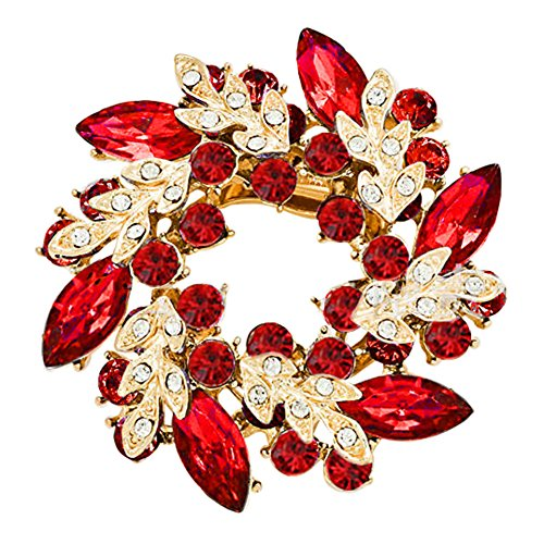 Red Gold Rhinestone Brooch (CharmsStory Vintage Flower Brooches Light Red Synthetic Crystal Penannular Brooch Pin)