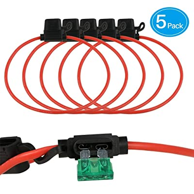BNTECHGO 5 Pack 10 AWG Inline Fuse Holder for 40A ATC/ATO Blade Automotive Fuse: Car Electronics