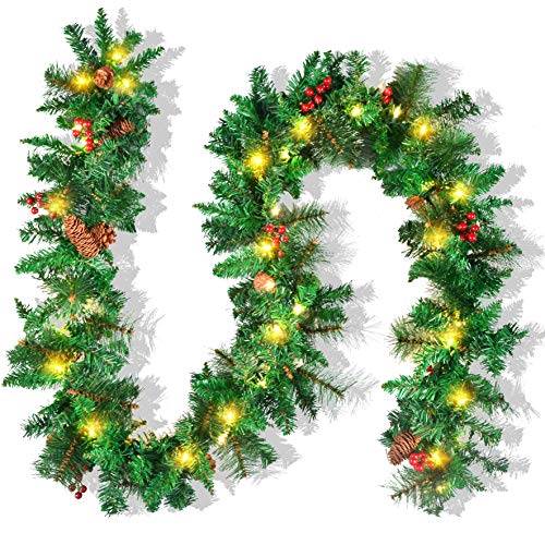 JOYIN Premium 9 Foot by 10 Inch Artificial Christmas Garland Prelit with 50 Lights,and Silver Bristle, Pine Cones, Red Berries