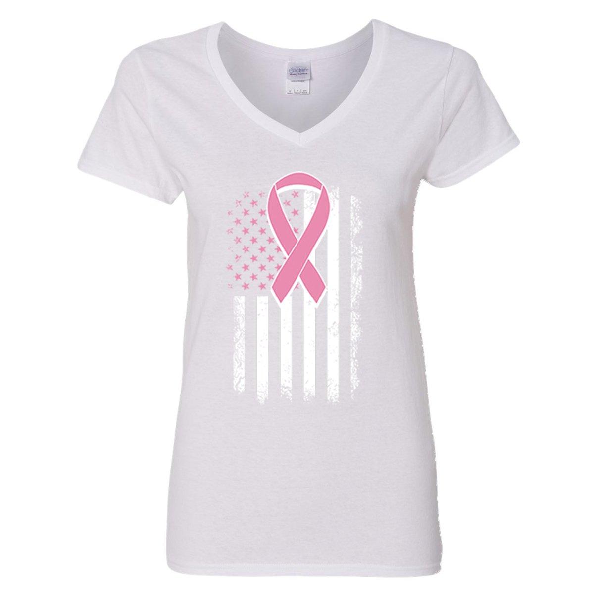 V-Neck for Women Breast Cancer Awareness US Flag Ribbon Women's V-Neck Shirts(White,Large)