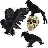 AOFOX Realistic Feathered Crows - Halloween Decoration Realistic Looking 3 Pcs Birds Black Feathered Crows Halloween Prop Décor