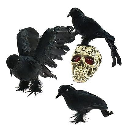 1268618719cc8 Amazon.com   AOFOX Realistic Feathered Crows - Halloween Decoration  Realistic Looking 3 Pcs Birds Black Feathered Crows Halloween Prop Décor    Garden   ...