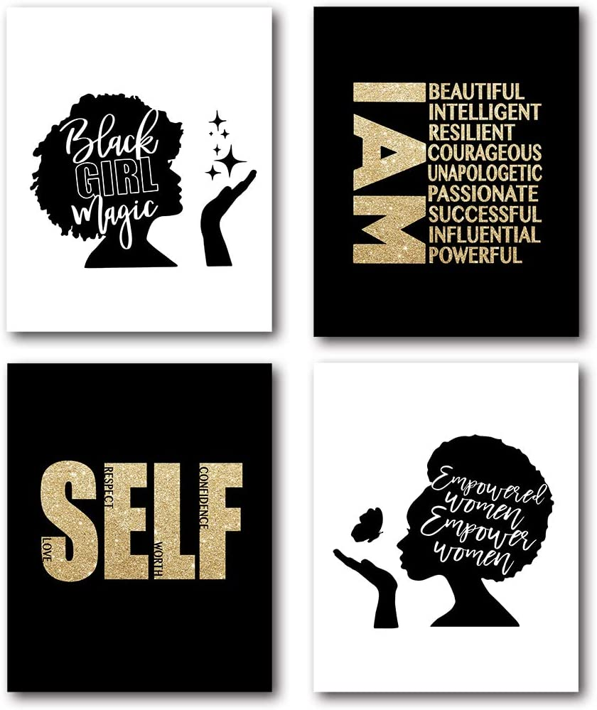 XUWELL Inspirational Quotes Black Woman Girl Wall Art Poster Prints, African American Woman Gifts for Home Bedroom Office Decor, 8 x 10 Inch Set of 4 Prints, Unframed