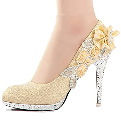 1e981bee647 getmorebeauty Women s Silver Lace Flower Pearls Closed Toes Wedding Shoes  Pumps (5 B(M