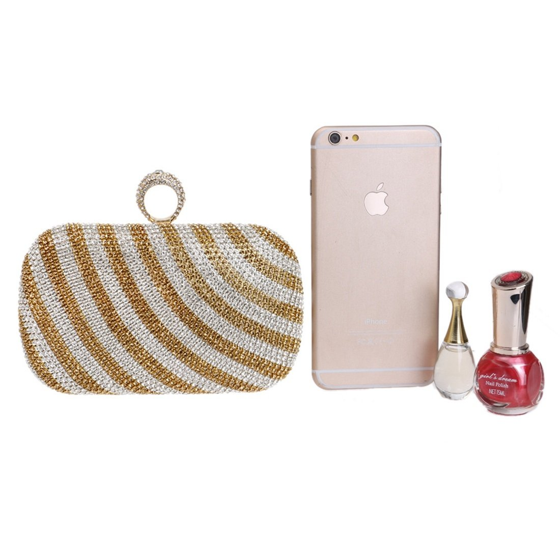Lightlila Damen Handtasche Gestreifte Gradient Abend Handtasche Handtasche Handtasche Clutch Schulter Messenger Bag (Farbe   Gold) B07Q3SDL7R Clutches Elegant natürlich 827776