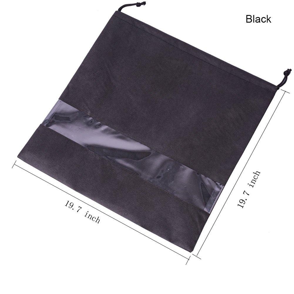2 PCS Handbag Dust Bags Perspective Window Storage Bag Non-woven Breathable Drawstring Pouch (Windows-Black)