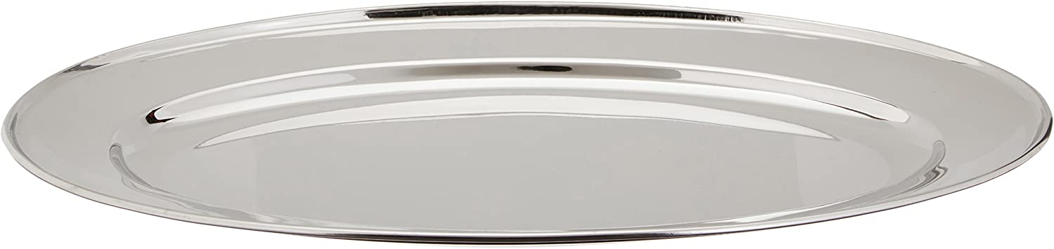 Winco Stainless Steel OPL-16 Oval Platter, 16 10.25-Inch