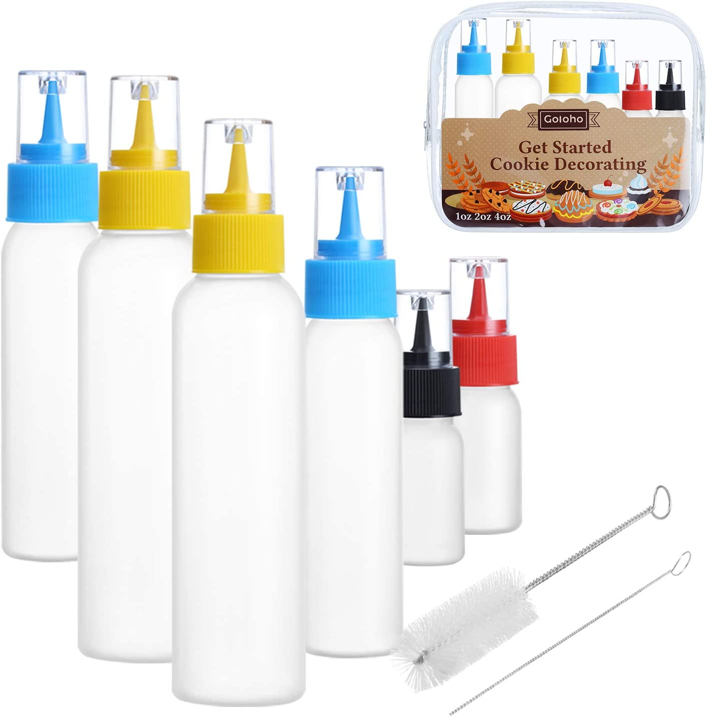 Writer Bottles, Cake Decorating Squeeze Bottles, 4 each(1, 2, and 4 ounce), Cookie Cutter, Food Coloring and Royal Icing Supplies
