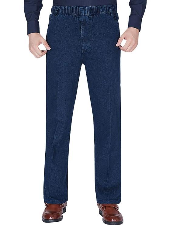 Youlee Hombres Cintura elástica Pantalones Rectos Jeans