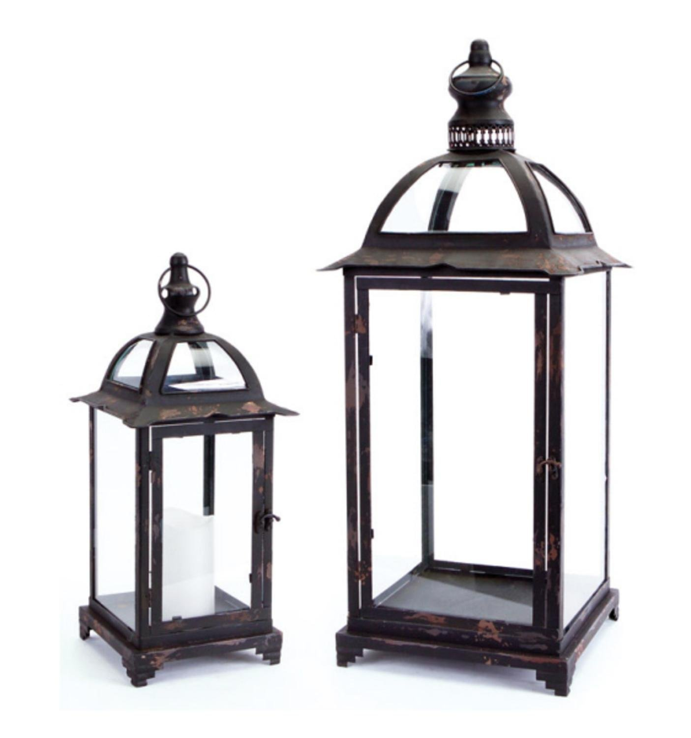 Set of 2 Pagoda Crest Weathered Iron and Glass Pillar Candle Holder Lanterns 26'' by Melrose