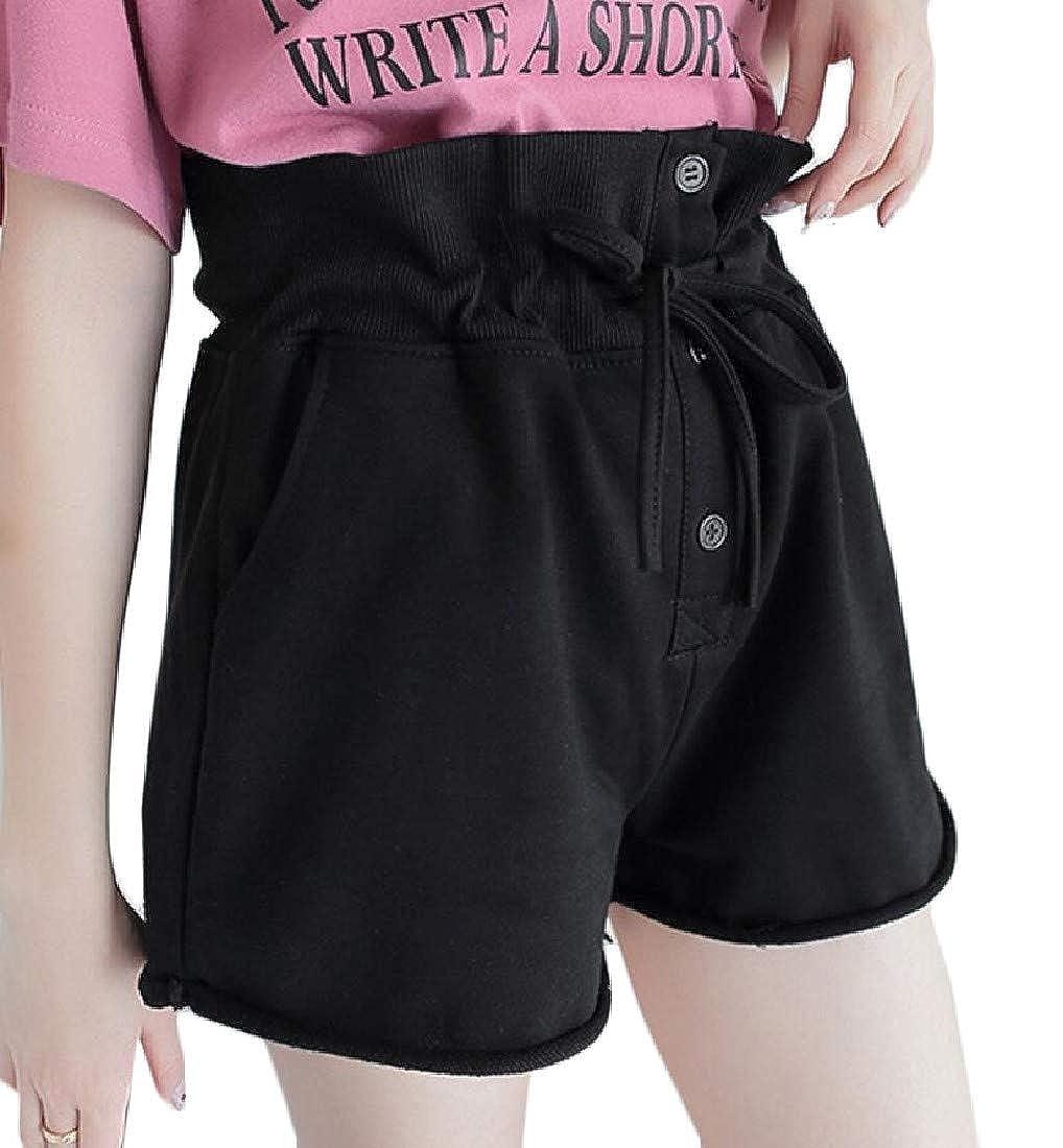 pipigo Womens Pocket Active Drawstring Crimping Ruffled Elastic Waist Buttons Shorts