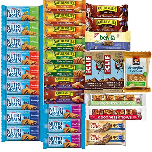 Healthy Snacks, Variety Pack, Breakfast Bars, Including Nature Valley, Quaker, Goodness Knows, Clif, Nutri Grain and Fiber One (Halloween Trail Mix Names)