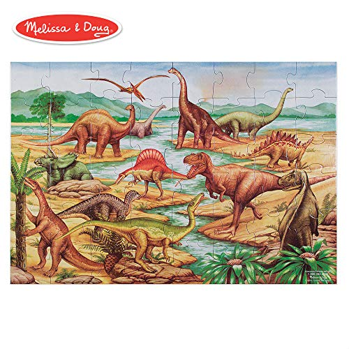 - Melissa & Doug Dinosaurs Floor Puzzle, Extra-Thick Cardboard Construction, Beautiful Original Artwork, 48 Pieces, 2' x 3'