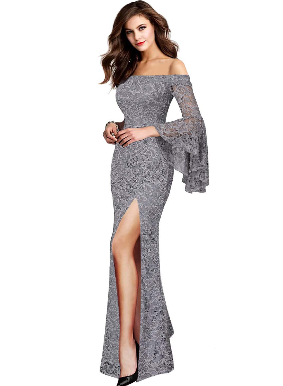 MIUSOL Womens Boat Neck Lace Sleeve Ruffle Slit Long Formal Evening Dress