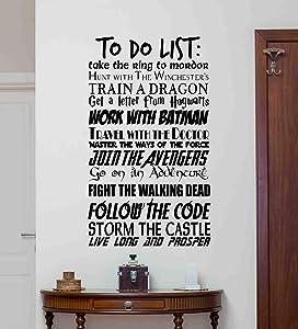to Do List Wall Decal Geek Quote Poster Movie Superhero Decor Gift Sign Teen Children Gift Vinyl Sticker Print Nursery Wall Art Room Design Poster Custom Mural 190bar