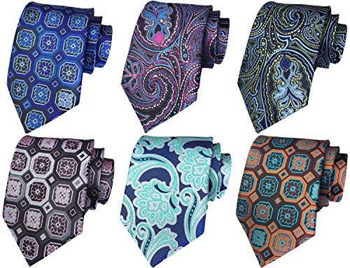 WeiShang Lot 6 PCS Classic Men's 100% Silk Tie Necktie Woven JACQUARD Neck Ties (Style 5) ()