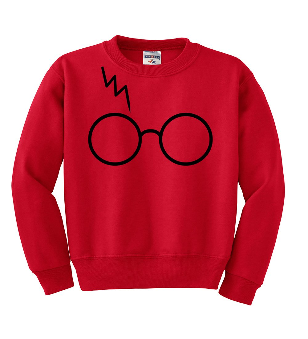 Wild Bobby Black Glasses With Lightning Bolt Scar | Harry Potter | Kids Unisex Pop Culture Crewneck Graphic Sweatshirt, Red, Medium