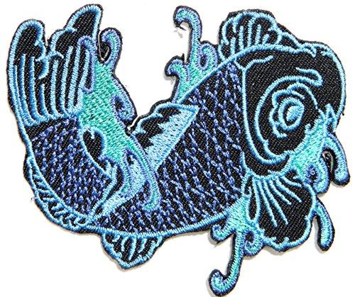 Japanese Cafe Costumes - Left Blue Japanese Koi Crap Fish