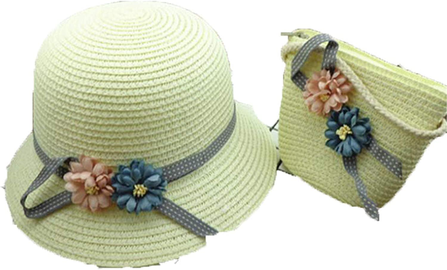 Boy Girls Straw Hats Flowers Summer Sun Hats for Kids Children Beach Hats Foldable Sunscreen Including Bag White 1 3 to 8 Years Old
