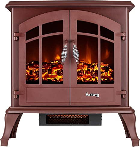 E Flame Usa Jasper Freestanding Electric Fireplace Stove 3 D Log And Fire Effect Red Kitchen Dining