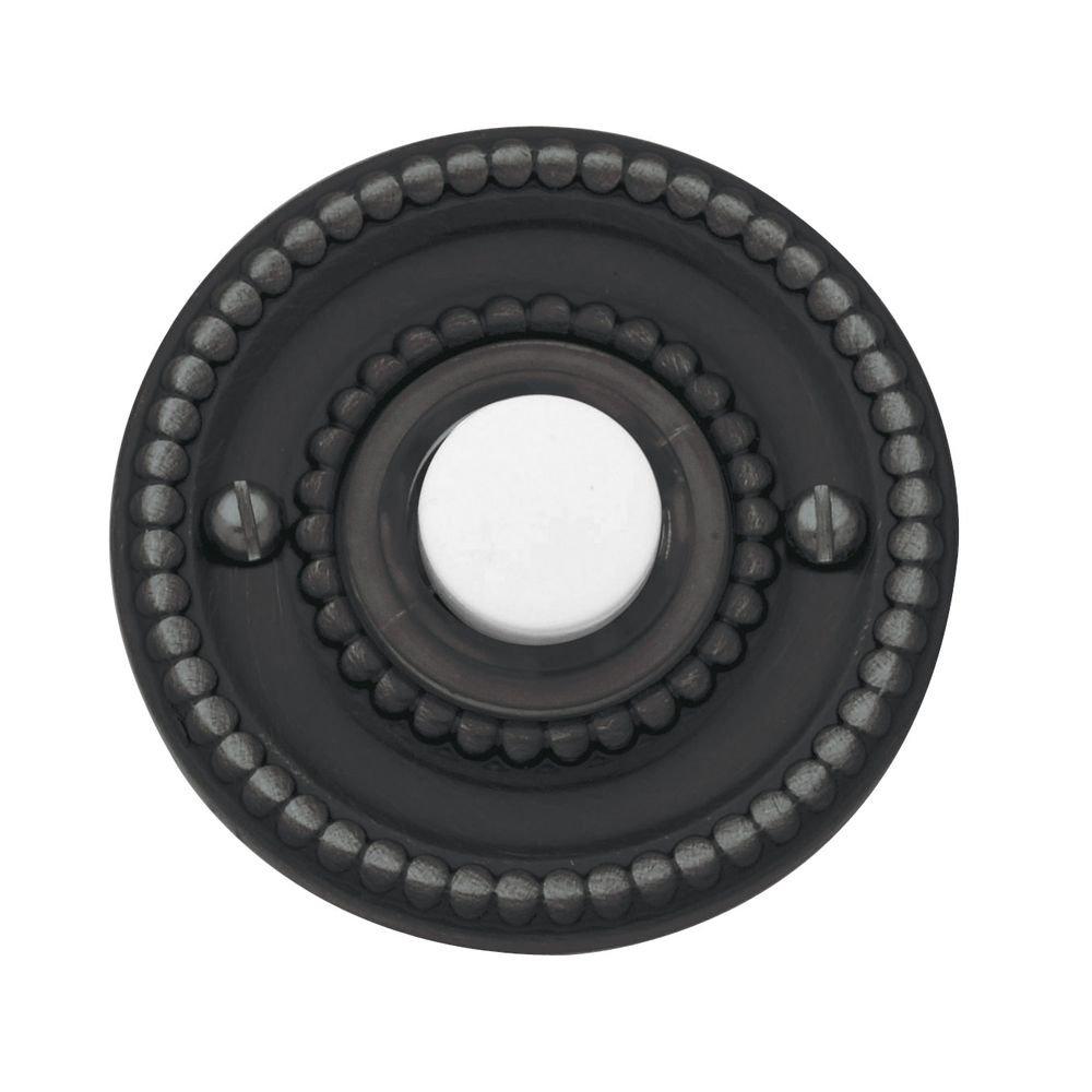 Baldwin 4850.102 Beaded Doorbell Button, Oil Rubbed Bronze