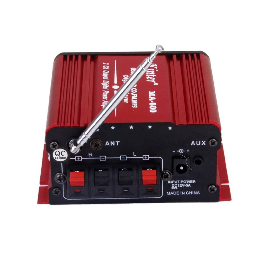 Dc12v Amplificador De Potencia De La Mini Ayuda De Usb / Sd / Fm Un Coche / Moto Ma-600 Rojo: Amazon.es: Electrónica